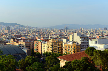 Barcelona Old City aerial view from Montjuic, Barcelona, Catalonia, Spain.