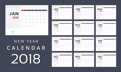Calendar. 2018 Calendar. Vector print template