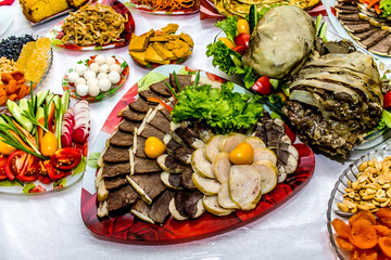 Kazakh national meat dishes on a plate