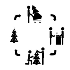 stick figure vector life cycle Christmas tree decoration