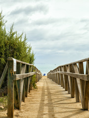wooden walkway to the beach.Alicante,Spain