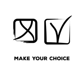 Yes and No Vector Set Square Frames, Isolated.  Hand Painted Election, Quizz, Voting, Test Symbols. Ink Brush Rejection and Approval, Query Choice Icons. Yes and No Tick and Cross Symbolic Marks.