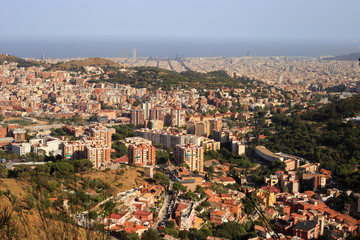 View on Barcelona city and mediterranean sea from Tibidabo hill