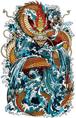 Japanese water dragon a traditional mythological deity creature in the sea or river splashes. Tattoo style vector illustration
