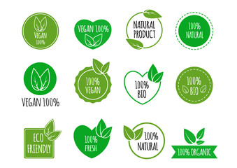 Set of bio healthy food badges. Vegan, organic logos. Vector illustration