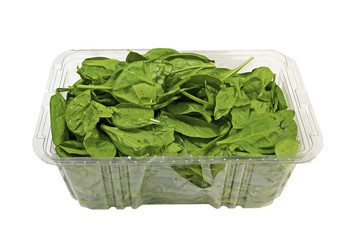 Container full with fresh Spinach