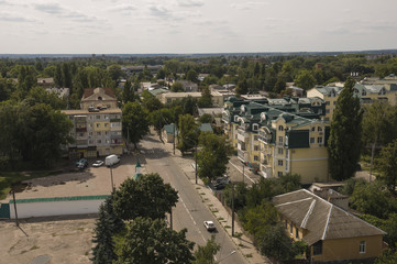 Chernigov, Ukraine.  August 15, 2017. Small buildings and streets. View from the top high