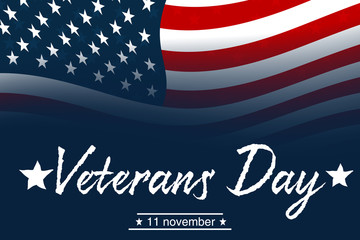 Design for holiday cards. Creative illustration,poster or banner of veterans day with u.s.a flag background.