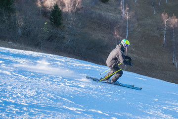 Man skiing in the mountains. Active holidays in winter.