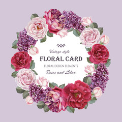 Vintage floral greeting card with a frame of watercolor roses and lilac. Wreath of flowers. Illustration