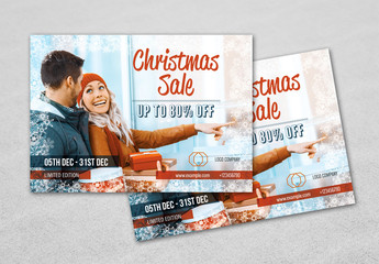 Christmas Sale Flyer with Dark Orange Accents