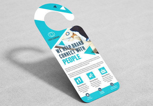 Business Door Hanger Layout with Teal Accents