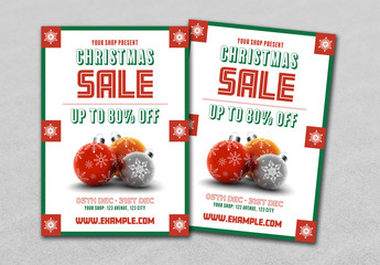 Christmas Sale Flyer with Ornaments and Snowflakes