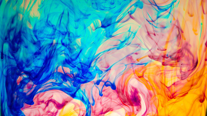 Abstract Colourful Paint in Water Background