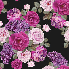 Floral seamless pattern with watercolor roses and lilac