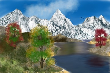 Snowy mountains, painting and an alpine landscape, forests with coniferous trees, grass on the ground, a beautiful lake and birds in the blue sky.