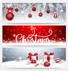 Christmas Banners Set with Balls and Gifts