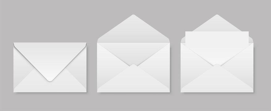 Set of realistic envelopes mockup. Stock vector