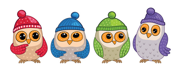 Set of cute owls in forest. Birds in hats. Seamless illustration.
