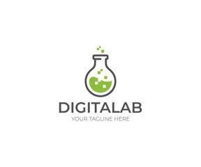 Digital Lab Logo Template. Chemical Flask Vector Design. Science Illustration