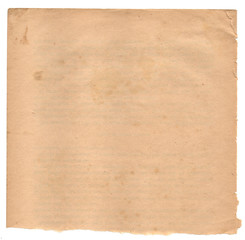 A ripped vintage paper sheet. Nice aged worn texture.