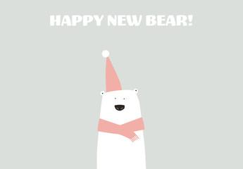 Christmas Card with Polar Bear Illustration