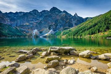 Fotobehang Nachtblauw Green water lake Morskie Oko, Tatra Mountains, Poland
