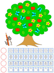 Exercise for young children. Need to count the of objects in the tree, paint the corresponding number of them and write their quantity. Vector image.