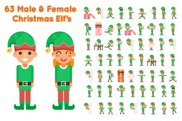 Boy And Girl Elf Characters Christmas Santa Claus Helper in Different Poses and Actions Teen Icons Set New Year Gift Holiday Flat Design Vector Illustration Wall mural