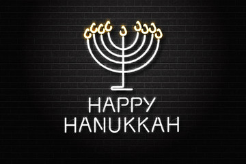 Vector realistic isolated neon sign of Happy Hanukkah for decoration and covering on the wall background.