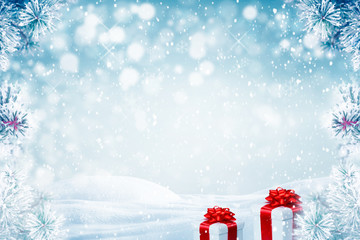 Christmas background with gift boxes and falling snow