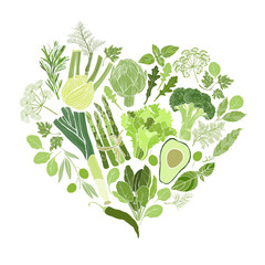 Green vegetables, spices and culinary herbs. Food  background. Vector illustration of heart shape.