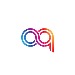 Initial lowercase letter aq, linked outline rounded logo, colorful vibrant gradient color