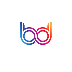 Initial lowercase letter bd, linked outline rounded logo, colorful vibrant gradient color