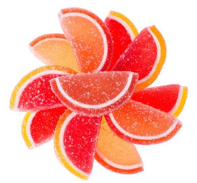 Orange and grapefruit jujube on white