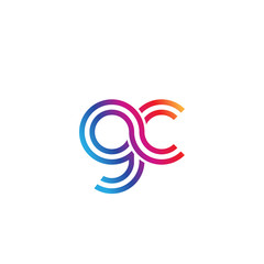 Initial lowercase letter gc, linked outline rounded logo, colorful vibrant gradient color