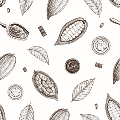 Cocoa and chocolate seamless pattern. Handmade chocolate wrapping design. Vintage elements for design.