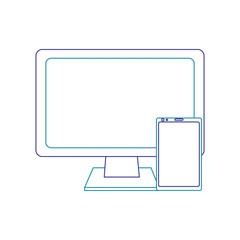 monitor computer smartphone gadget screen device vector illustration blue line