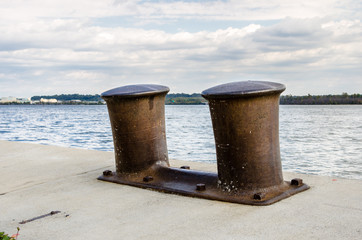 Printed roller blinds Port Rusty Bollards on a Dock along the Potomac River in Alexandria, VA on a Cloudy Day.