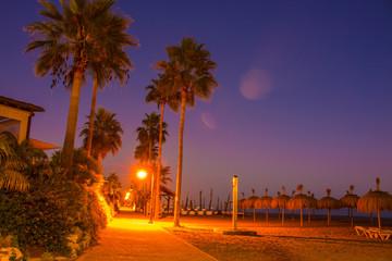 Night beach. City of Estepona, Costa del Sol, Andalusia, Spain.