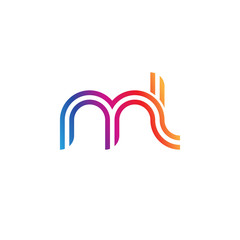 Initial lowercase letter ml, linked outline rounded logo, colorful vibrant gradient color