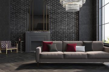 Black brick wall living room, sofa, fireplace