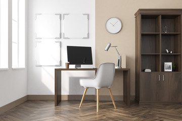 White home office interior, posters