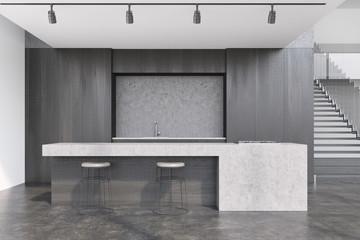 Black wooden kitchen interior