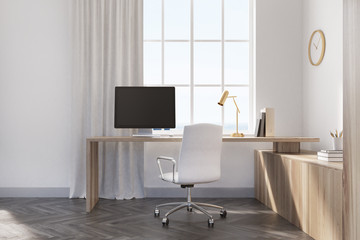 White home office interior, wood