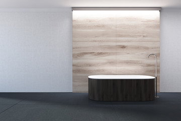 White and wooden bathroom, dark bathtub