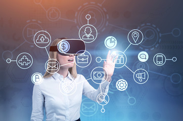 Blonde woman in VR glasses, network