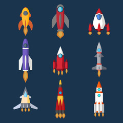 Rocket  set and technology ship rocket flat style design. Start Up. Vector.