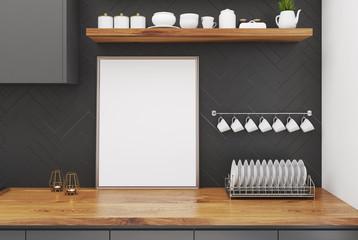 Wooden kitchen table, framed poster
