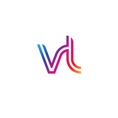 Initial lowercase letter vl, linked outline rounded logo, colorful vibrant gradient color